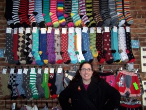 Sock wall at Monster Art & Clothing